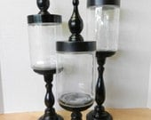 Set of 3 Glass Apothecary Jars - For Jade