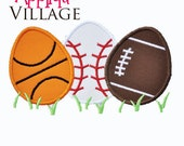 Boys Sports Easter Egg Applique Embroidery Design