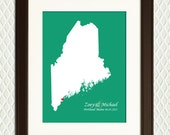 MAINE Map with heart on Portland. Personalized gift for an engagement, wedding, honeymoon or anniversary