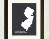 NEW JERSEY - Personalized Gift for for an ENGAGEMENT, wedding, honeymoon, anniversary, birth, adoption or family. Map with a heart