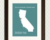 PERSONALIZED ADOPTION GIFT - Map of any country or state with a heart - Christmas, Mothers Day, Fathers Day