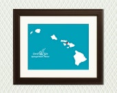Map of HAWAII - Personalized Wedding Gift or Decoration - Engagement, Destination Wedding, Honeymoon, Anniversary - Kauai, Maui, Oahu