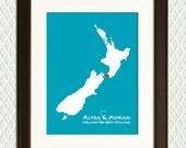 NEW ZEALAND Map- Gift for an engagement, wedding, honeymoon, anniversary or vacation. Heart on a city eg. Auckland, Wellington, Christchurch