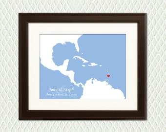 St Lucia WEDDING GIFT - Personalized Gift for a Destination Wedding, Honeymoon, Anniversary. Map with a heart.