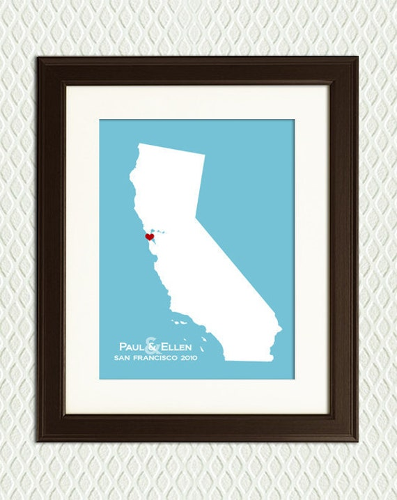 CALIFORNIA - Personalized state - Gift for or Keepsake for an engagement, wedding, honeymoon, anniversary, birth or adoption with a heart.
