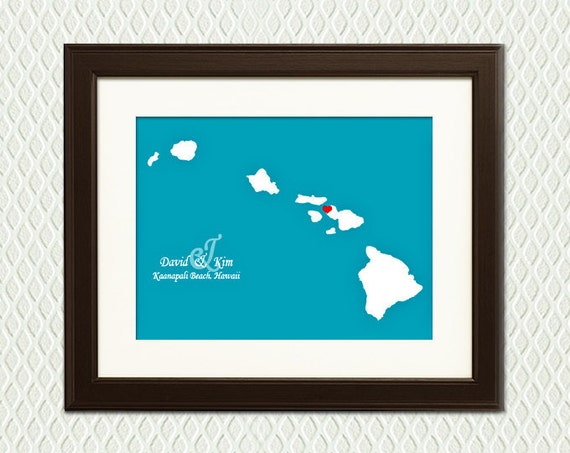 Hawaiian Wedding Gift Ideas: Map Of HAWAII Personalized Wedding Gift Or By