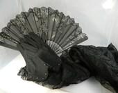 Reserved for Chris Antique 1920s Black Fan