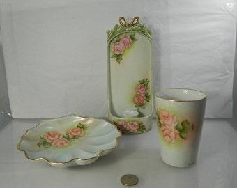 Vintage Porcelain Vanity Set Pink Roses Artist Signed Shabby Chic Decor
