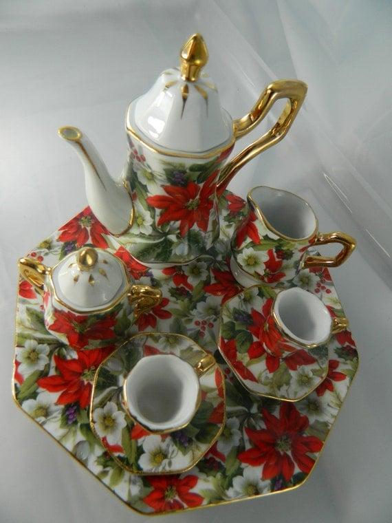 Vintage Miniature Tea Set Red And White Poinsettia Miniature