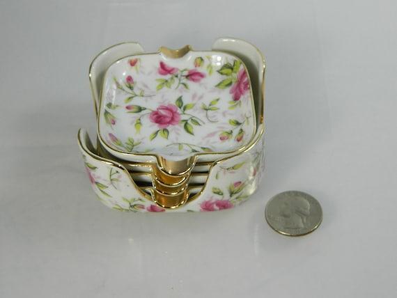 Vintage Lefton Porcelain Ashtray Set Pink Roses