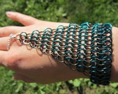 Teal Turquoise and Gunmetal Bronze Chain Mail Hand Flower Slave Bracelet