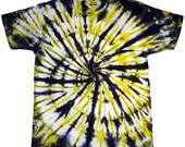 Large Tie Dye T-Shirt Black & Yellow Spiral Short Sleeve