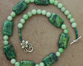 Green jasper and  jade stone necklace.