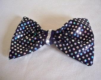 Black Confetti Dot Hair Bow Clip