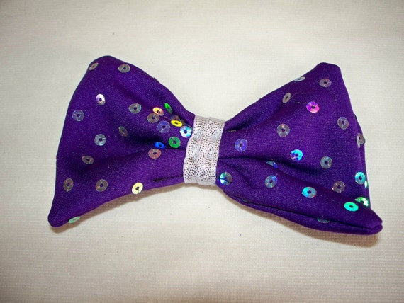 Hair Bow Barrette - Purple Reflective Sequin