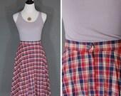 1970's Plaid Skirt / 70s Midi Skirt / A Line / Accordion Pleats / 28 Waist