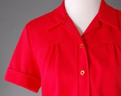1970's Red Blouse / 70's Boxy Blouse / Pleated Chest / Short Sleeves