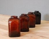 Vintage Brown Snuff Bottles / Amber Glass Bottles / Apothecary