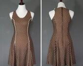Brown Polka Dot Dress / Mini Dress / Full Skirt / 1970's
