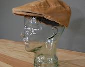 Mens Vintage Hat / Newsboy Cap / Grandpa Hat / Tan Corduroy / XL