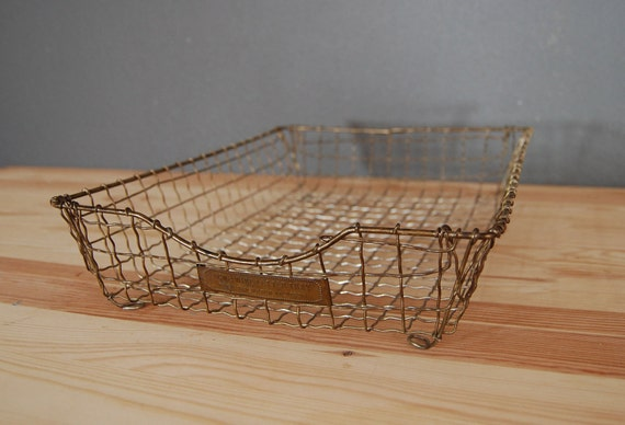 vintage industrial letter tray mail holder acme wire 1890