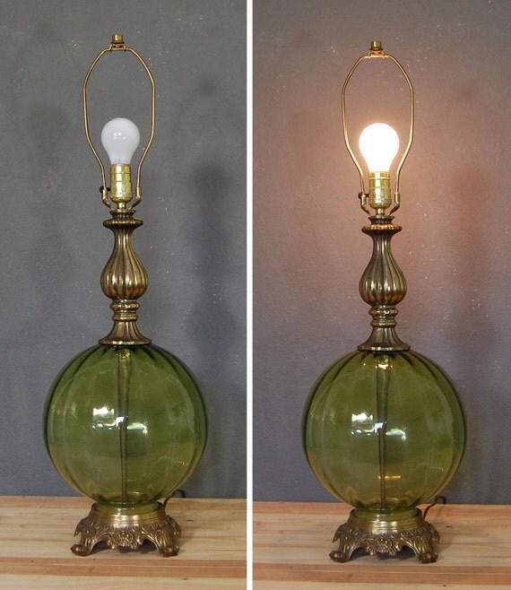 vintage table lamp green glass lamp lighting mid century. Black Bedroom Furniture Sets. Home Design Ideas