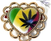 Marijuana Hair Clip in Rasta Colors - For Your Hippie Valentine