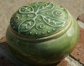 Green  Leaf Trinket Jar - hand thrown pottery, stoneware