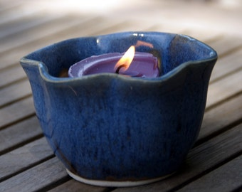 Bright Sky Blue Votive Candle Holder - Hand thrown pottery, stoneware
