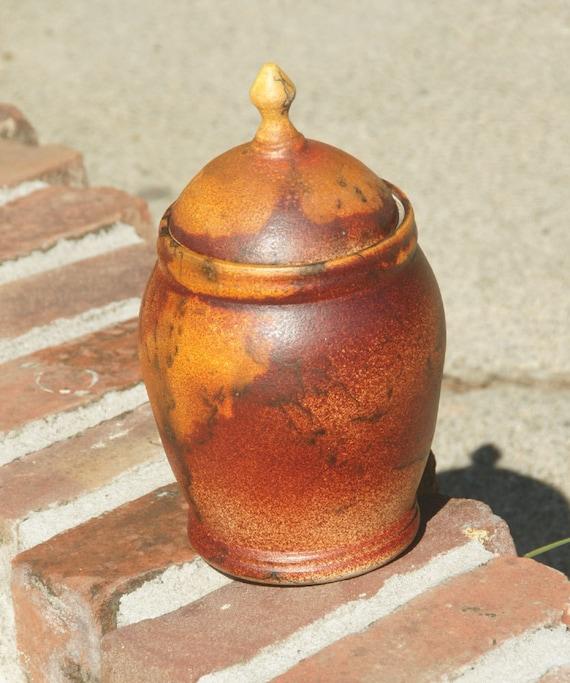 Horsehair Raku Lidded Jar- hand thrown stoneware pottery