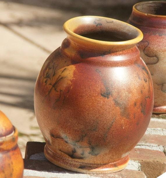 Horsehair Raku Vase 4 - hand thrown stoneware pottery