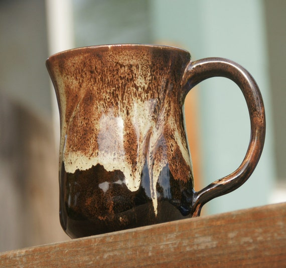 Reserved  for Andy M. -- Licorice and Cream Rust Stoneware Mug - hand thrown pottery