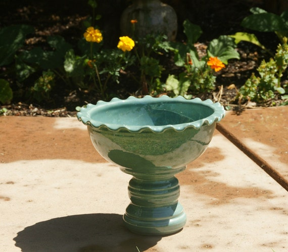 Robin's Egg Ruffled Pedestal Bowl -  Tabletop Bird Bath, Fruit Bowl or Serving Bowl - Hand thrown, stoneware pottery