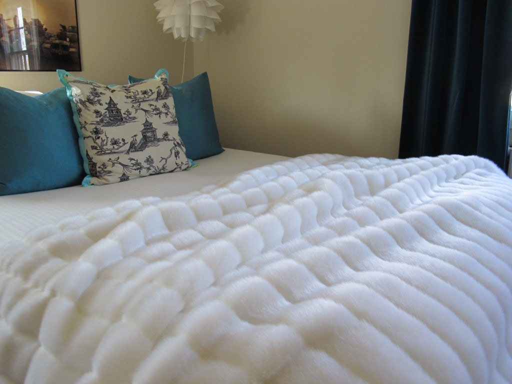 The ultimate luxury white mink faux fur throw by nottooshaggy for White fur bedroom