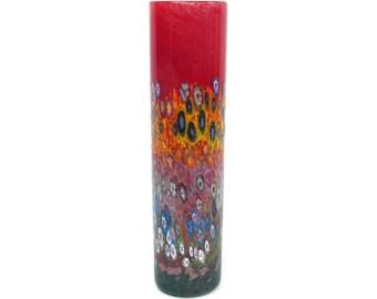 Hand Blown Art Glass Vase - RED Garden Cylinder