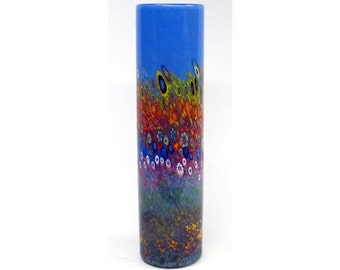 Hand Blown Art Glass Vase - Delft Blue Garden Cylinder