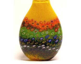 HAND BLOWN Art Glass Vase Yellow