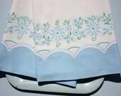 Vintage Feedsack Pillowcases Pillow Case Pair Baby Blue