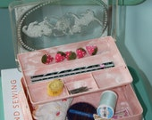 Pink Sewing Box with Kittens 1950s Celluloid-RESERVED FOR KATRINA