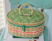 Vintage Sewing Basket Fabric and Plastic Wicker Handled