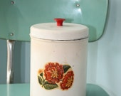 Vintage Tin Canister Ivory with Red Orange Mum Flower Shabby Chic Container