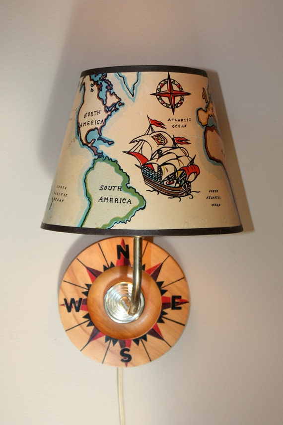 Unique Map and Compass Rose Plug-In Wall Sconce Light