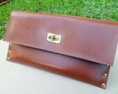 Brown Leather clutch, Clutch Bag,  Wedding Clutch, Bridemaid Clutch, Party Clutch, Leather Clutch
