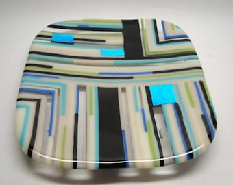 Fused Glass Plate - Strip Plate - CIG1748