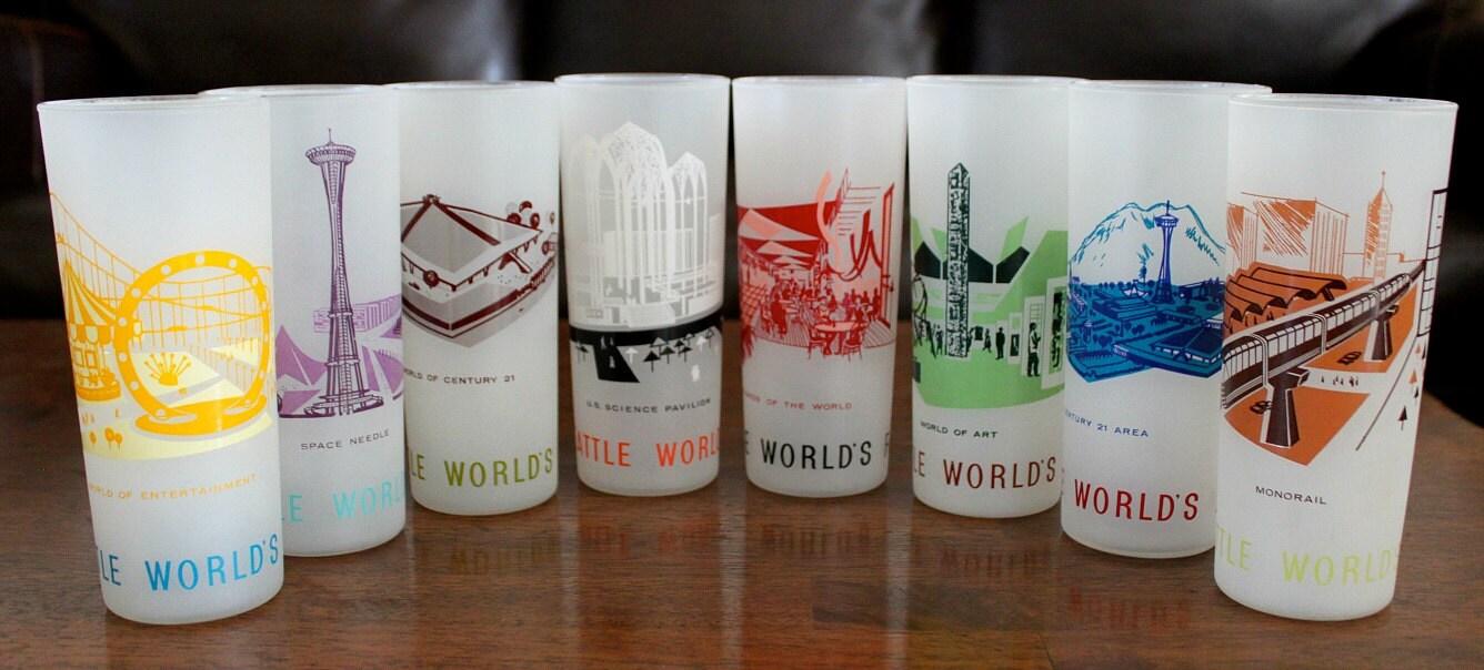 Vintage Eyeglass Frames Seattle : Vintage Seattle Worlds Fair 1962 Frosted Glasses Complete