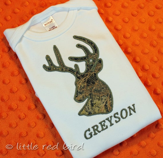 Custom Applique Deer Head Hunter Camouflage Personalized Shirt or Onesie