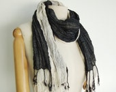 NO.12  Unisex Two-Tone Black/Cream Cotton Gauze  Double Layer Scarf-Hand Dyed