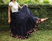 NO.25 Indigo Blue Cotton, Hippie Gypsy Boho Tiered Long Peasant Skirt