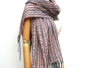 NO.3 Unisex Dusty Rose/Grey Cotton Corded Striped Appliqué Scarf