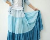 NO.53 Light Blue-Aqua-Turquoise Cotton, Hippie Gypsy Boho Color-Block Tiered Skirt